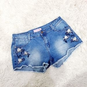 4x20 Embroider floral jean cut off  blue shorts M